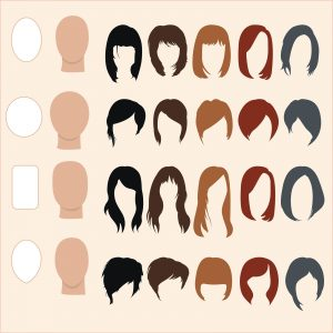 Set of hairstyles for different face shapes
